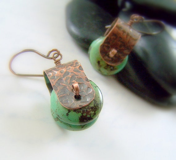 Hammered Copper Earrings - Metalwork Magnesite Gemstone - Earthy Green Stone - Southwest Fashion - Rollin