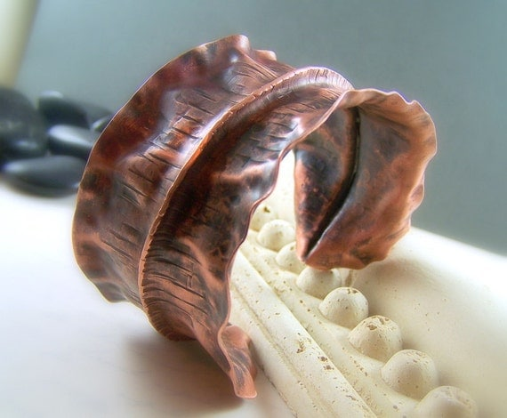 Copper Fold Formed Cuff Bracelet Handmade Hand Forged Metal Work Hammered Copper - Alchemy