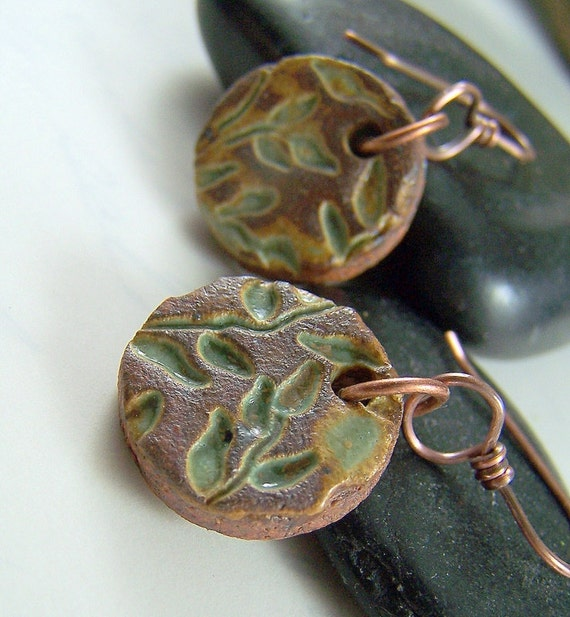 Stoneware Pottery Earrings, Ceramic Pottery Jewelry, Copper Jewelry, Handmade Earrings, Woodland Nature Jewelry, Leaf Jewelry - Willow