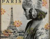 April In Paris - Eiffel Tower Antique Portrait Mixed Media Collage Print