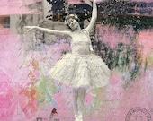 Glittering Clouds- Pink Ballerina Girl In Tutu Mixed Media Collage Art Print  5x5 Ballet, Ruffles, Dance, Dancer, Feminine
