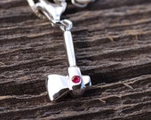 Ax Charm Unisex Lab created Ruby Hatchet  Unisex Hatchet Rhodium Over Sterling Silver Highly Polished Silver Lizzie Borden Ax