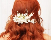 Wedding hair clip, white floral hair accessory, lily of the valley clip, bridal accessories
