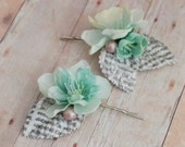 Whimsical hair clip set, mint flower bobby pins, bridal hair pins, wedding accessory - Poetess