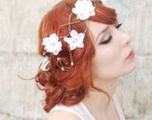 Boho wedding head piece, white flower vine crown, floral flapper crown - in white - Smoke and mirrors