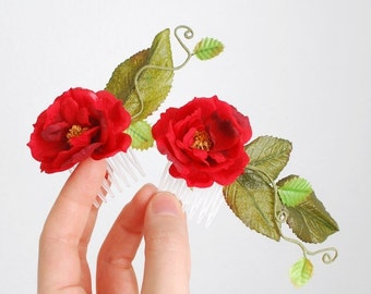 Rose hair combs, red floral hair piece, garden wedding, hair accessories - Juliette