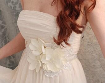 Bridal gown belt, floral dress sash, wedding belt, bridal accessory, whimsical wedding, bridal gown sash, ivory wedding accessories