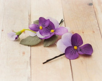Purple flower clips, hair pins, floral bobby pins, woodland hair pins, wedding accessories - Pansy