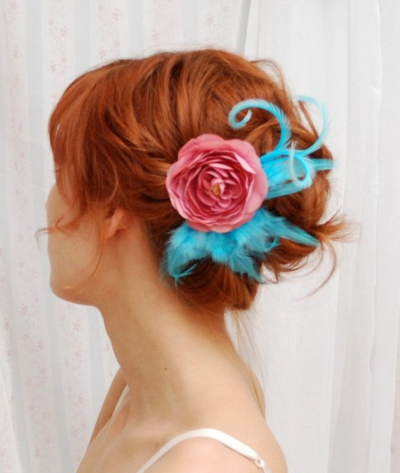 Vibrant sky - a pink and teal fascinator