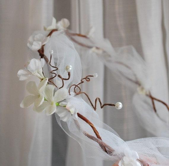 Bridal circlet, white flower and tulle hair wreath, boho wedding head piece, hair accessories - Persuasion