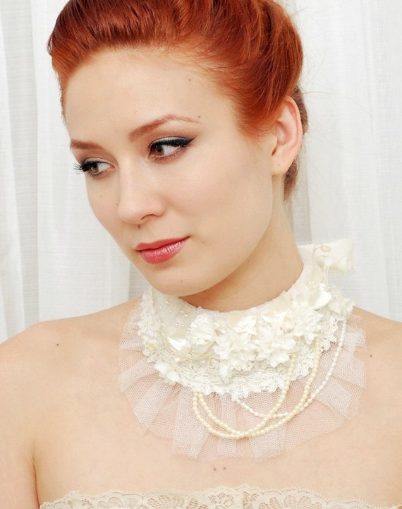 Camille - a vintage lace and floral bib necklace