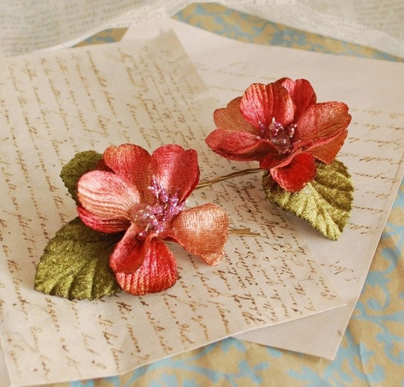 Pink hair pins, floral hair clips, victorian hair flowers, wedding flower clips, bobby pin set, vintage flower pins, hair accessories