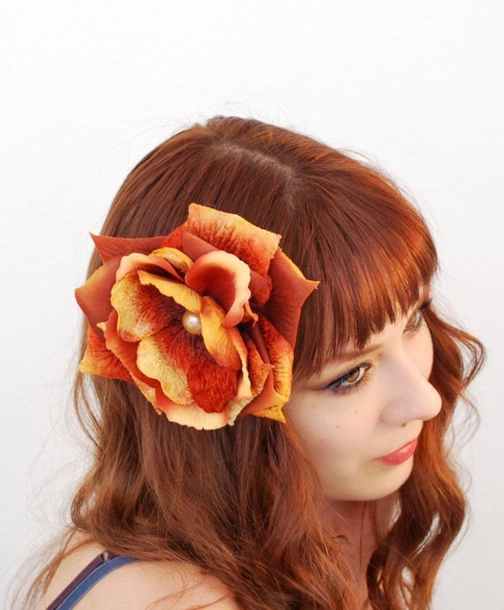 Prairie fire - a velvet rose petal clip - SALE