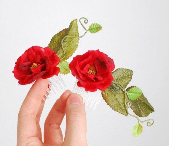 Rose hair combs, red floral hair piece, garden wedding, hair accessories - Juliette
