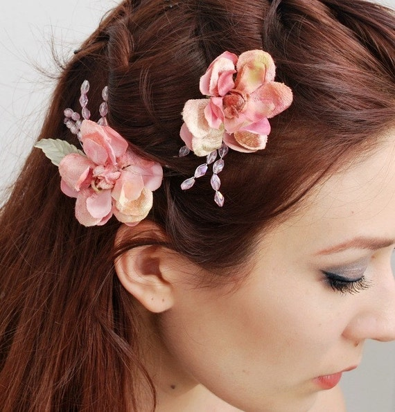 Pink floral bobby pins, Vintage flower clips, bridal hair pins, hair accessories - Fae blossoms