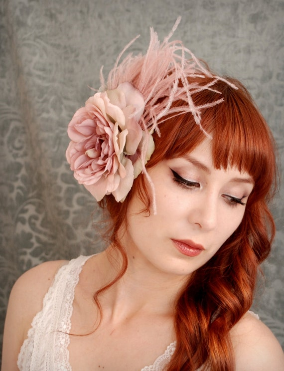 ghost of a rose dusty pink feather fascinator