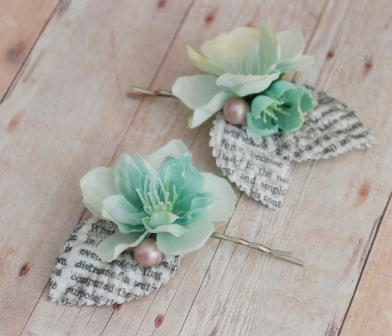 Whimsical hair clip set, mint flower bobby pins, bridal hair pins, wedding accessory - Poetess