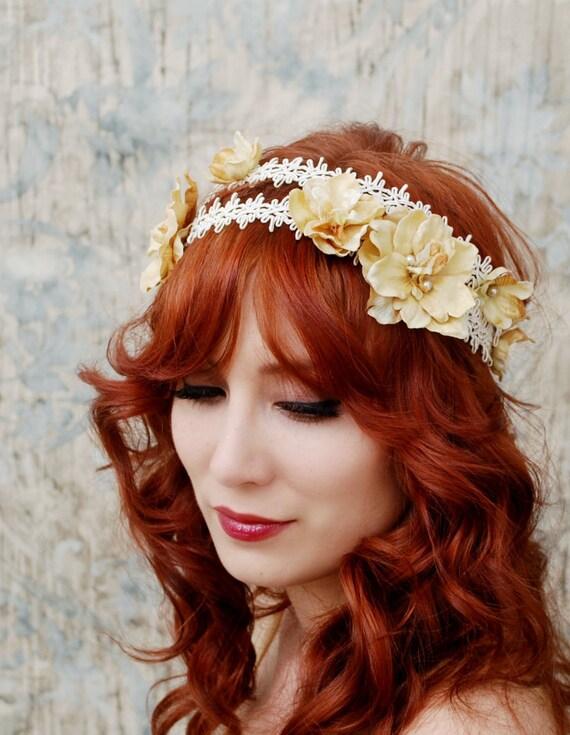 Golden flower headband, bridal head piece, regency hairband, hair accessory - Isadora