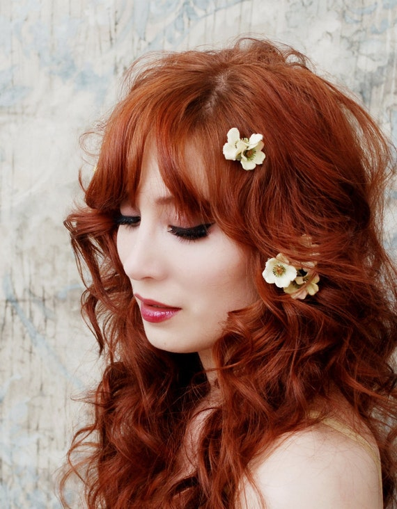Cream flower clips - Woodland blossoms - bobby pin set, hair accessories