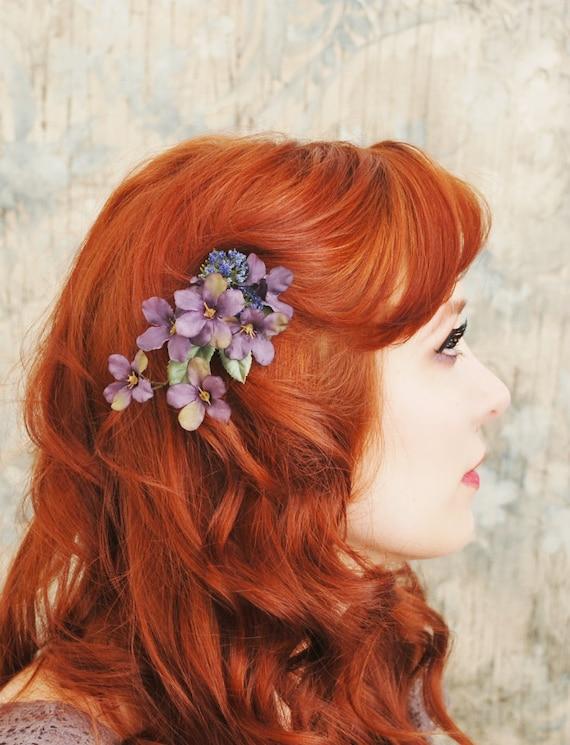 Purple flower hair clip, plum floral clip, woodland hair accessory - Petal