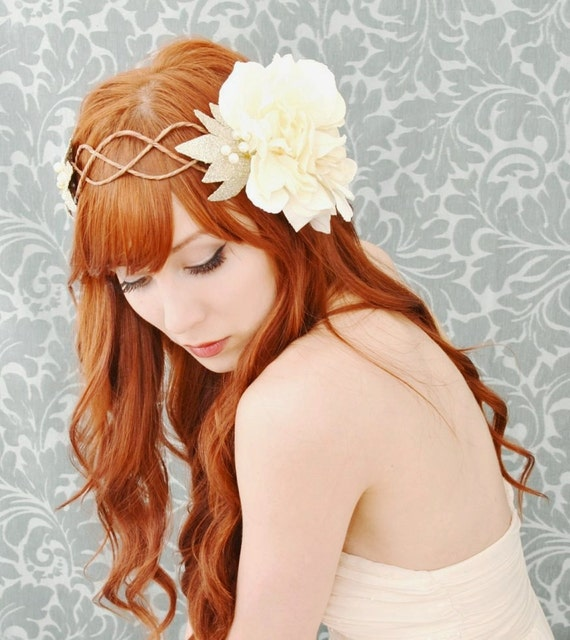 Wedding headdress, ivory flower crown, flapper head piece - Celeste - art nouveau floral crown, hair accessory