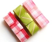 Pink and Green Gingham Baby Hair Snap Bows Set of 3