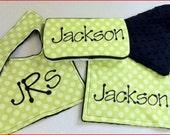 BOYS baby customized burp cloth wipes case set lime polka black
