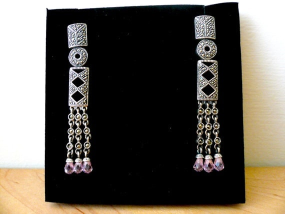 SUPER SALE. Gorgeous Vintage Art Deco Style Marcasite Sterling .925 Pink Topaz Dangling Earrings