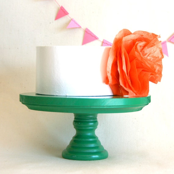 Green Cake Stand. Small/Short Size