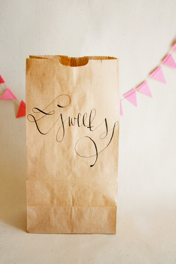 Kraft Favor Bags with Custom Calligraphy