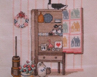 "Completed cross stitch ""Contry Cupboard """