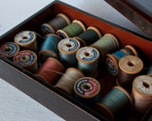 18 Assorted Coats & Clark's Thread on Wooden Spools w/ Lacquered Box