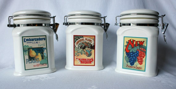 Set of 3 DesignPac Fruit -Themed Ceramic Tall Canisters