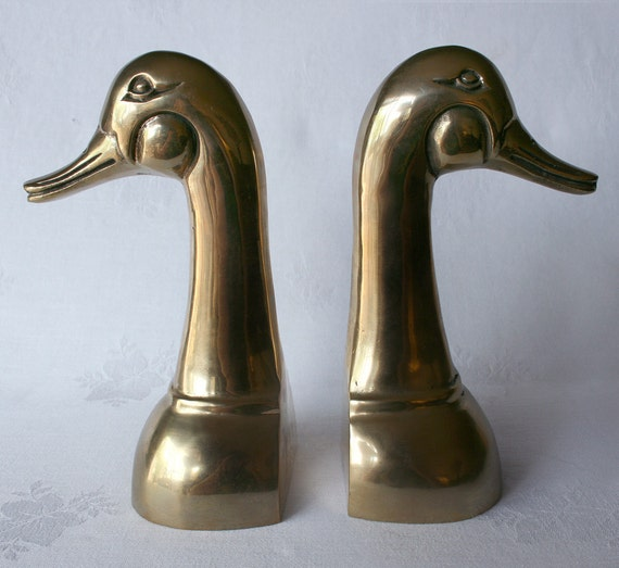 Brass Goldtone Duck Bookends