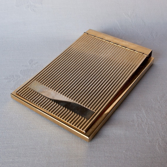Art Deco Goldtone Metal Notepad Holder