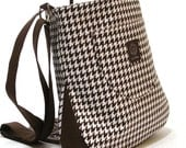 On SALE - The Angela Cross Body Bag in Chocolate Brown and White Houndstooth