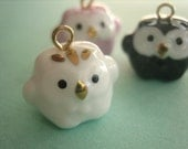 Japanese Kawaii Cute Small Owl Porcelain Ceramic Charm Pendant  White