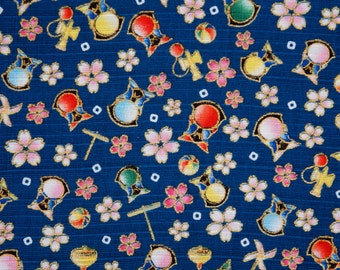 Small Sakura Cherry Blossom and Dolls Navy Japanese Cotton Fat Quarter
