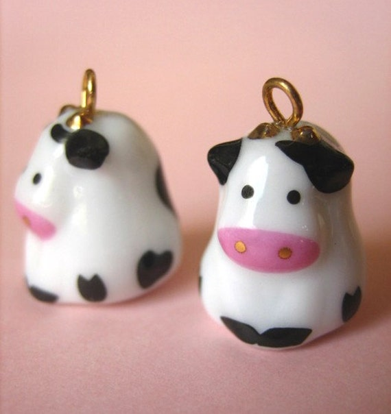 Japanese Kawaii Cute Small Cow Porcelain Ceramic Charm Pendant