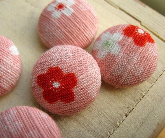 6pcs Sakura Cherry Blossom Japanese Cotton Covered Button Pink