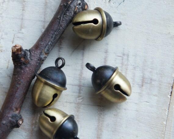 Acorn Bell Charm Antique Brass Cute Kawaii Charms 2pcs A Pair Made in Japan
