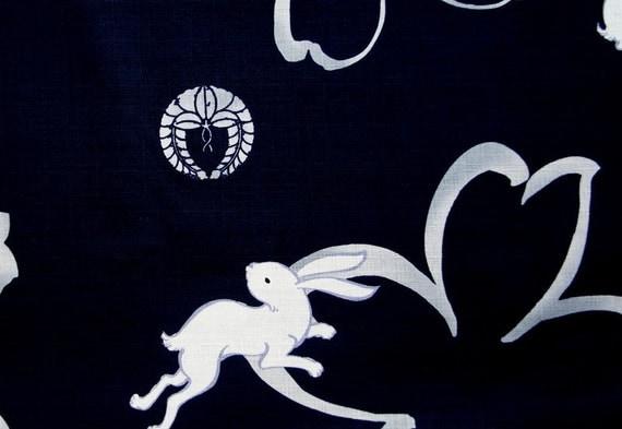 Energetic Rabbit and Sakura Cherry Blossom Cotton Navy Japanese Family Crestst fat Quarter