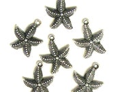 6 Silver Plated Starfish Charms Star Fish