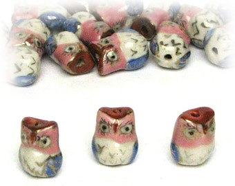 3 Ceramic Owl Beads Owls