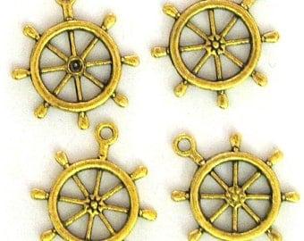 4 Gold Plated Ship's Wheel Charms Ship Wheels