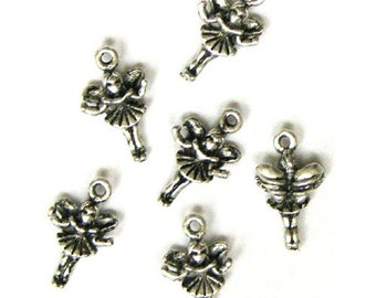 6 Silver Plated Fairy Faerie Charms Faeries