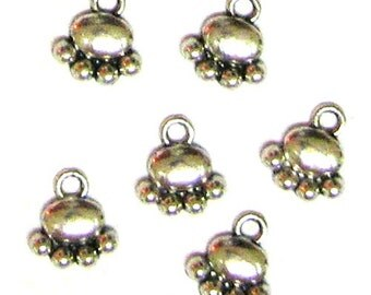 6 Silver Plated Paw Print Charms Pawprint Cat Dog