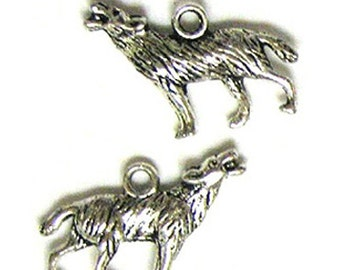 2 Silver Plated Howling Wolf Charms Wolves Twilight