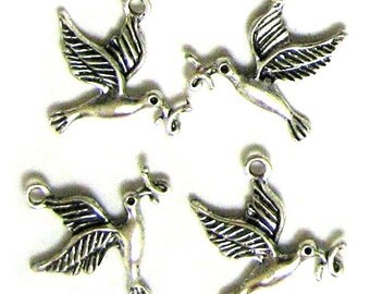 4 Silver Plated Bird with Worm Charms Birds