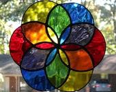 Geometric Rainbow Stained Glass Suncatcher